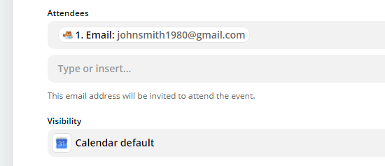Enter the field for the attendee's email address, if you want to send them a Google Calendar invite