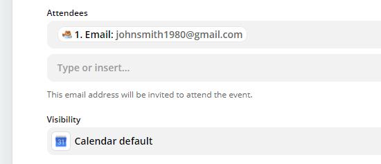 Inserisci il campo per l'indirizzo email del partecipante, se desideri inviare loro un invito di Google Calendar
