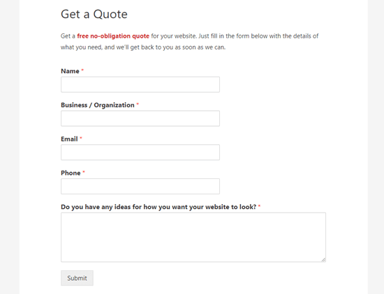 The Request a Quote form live on the website