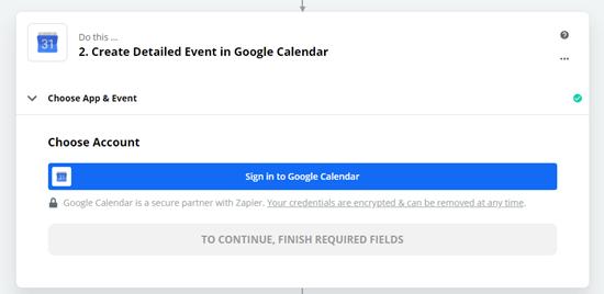 Accedi al tuo account Google Calendar quando richiesto da Zapier