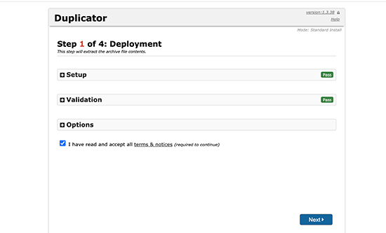 Duplicator installer screen