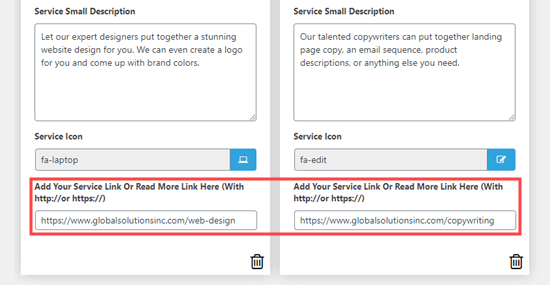 Add a link for each service box that goes to to a page with more information