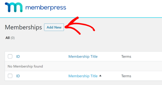 add new in memberpress