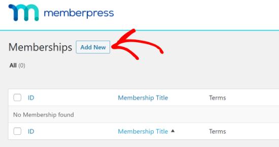 aggiungi nuovo in memberpress