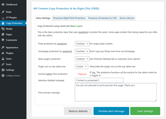 Le impostazioni per il plug-in WP Content Copy Protection e No Right Click