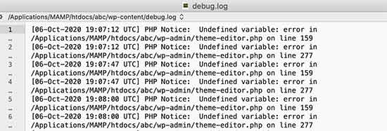 Debug log file showing PHP errors in WordPress