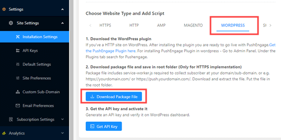 Download del file del pacchetto per WordPress