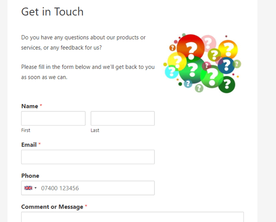 Our contact form live on our demo website