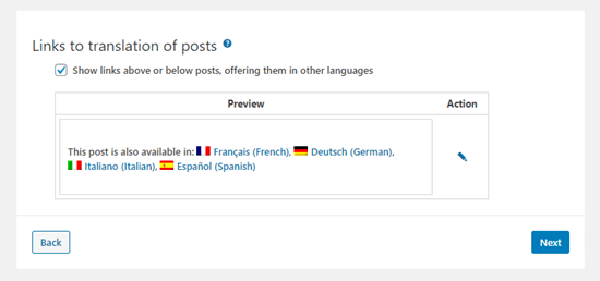 Setting up the translation links for your posts