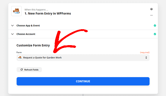 Select the form you want to use from the dropdown list