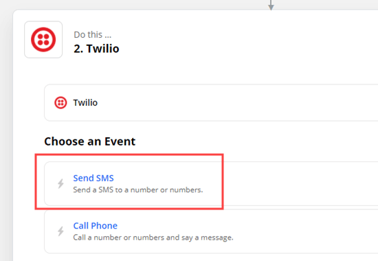 Choose Send SMS as the action for Twilio
