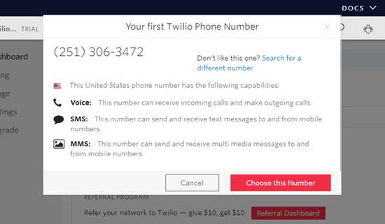 Choose a phone number to use with Twilio