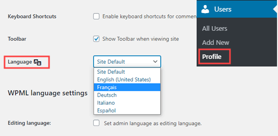 Setting your WordPress admin language