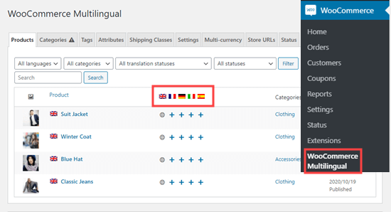 Viewing your table of products on the WooCommerce Multilingual page