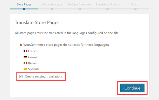 Creating the missing translations for the different language versions of your store page