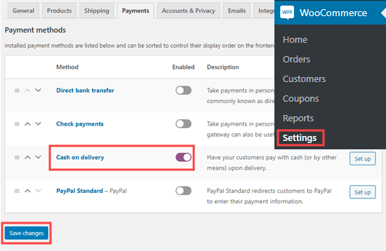 Enabling cash on delivery in WooCommerce
