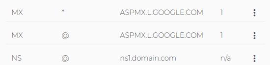 De gewijzigde MX-records in de lijst Domain.com