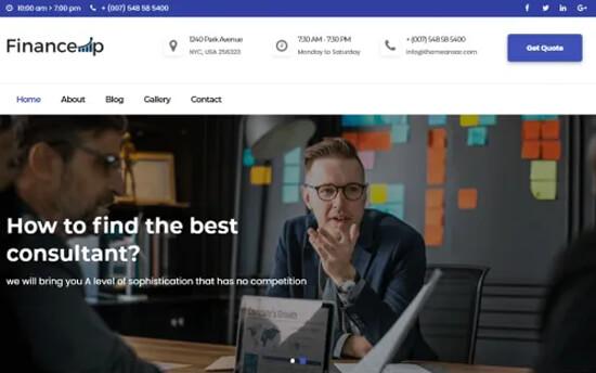 Financeup free financial site theme