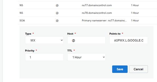 Die Option, Ihrer Domain neue MX-Einträge hinzuzufügen