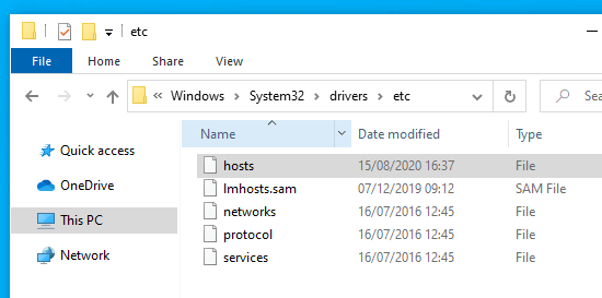 Find the hosts file on your computer