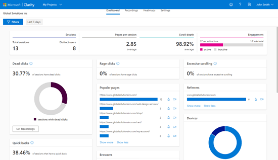 Viewing the Microsoft Clarity analytics dashboard