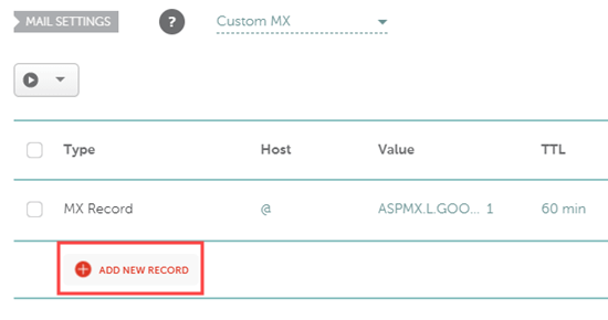 Adding a new MX record in Namecheap