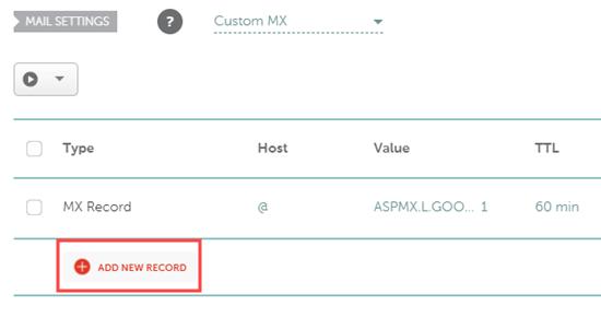 Hinzufügen eines neuen MX-Datensatzes in Namecheap