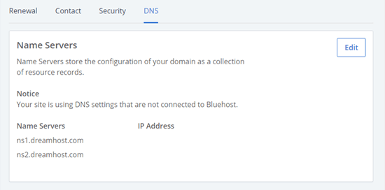 The updated nameserver details listed in Bluehost