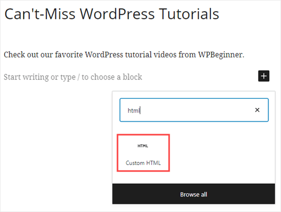 Adding a custom HTML block to WordPress