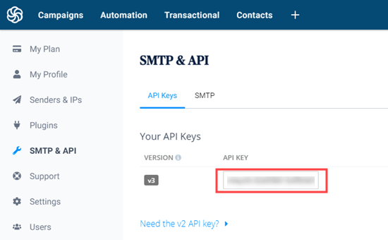 Getting your API key from Sendinblue