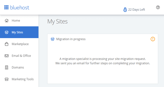 The Bluehost migration in progress message