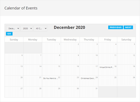 View the calendar of events on your website