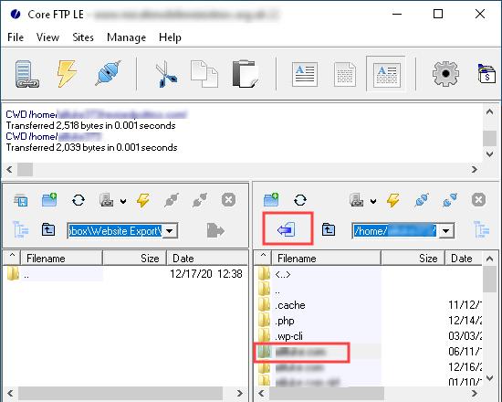 Exporteer al uw websitebestanden naar uw computer