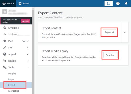 Exporteer uw website vanuit WordPress dot com