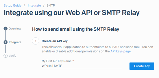 Name your API key in SendGrid and click the Create Key button