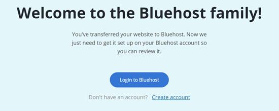 Het welkomstbericht na het gebruik van de Bluehost Site Migrator