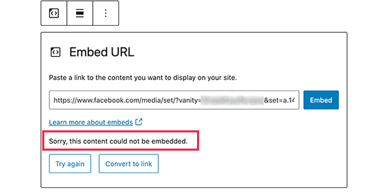 Facebook embed error in WordPress