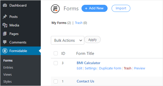 Editing the BMI calculator form that you created