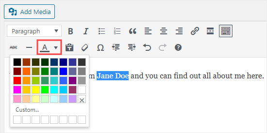 Use the text color button in the classic editor