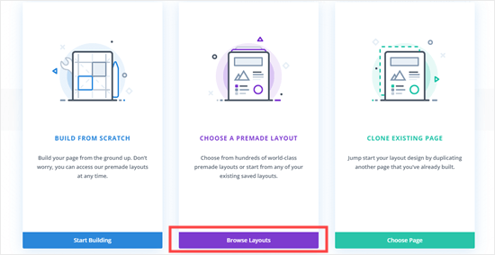 Choose the premade layout option in Divi