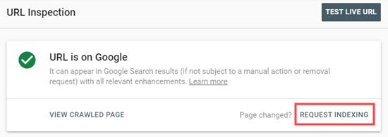 Cliquez sur le lien Demander l'indexation dans la Google Search Console
