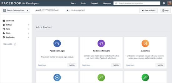 Your dashboard on the Facebook for Developers site