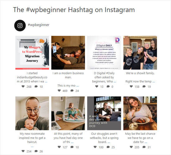 Il feed hashtag #wpbeginner