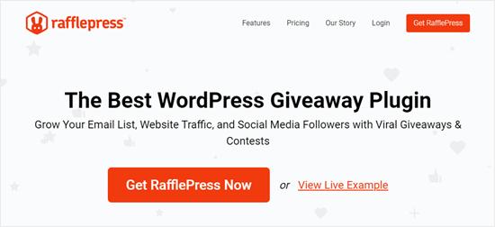 Il sito web RafflePress