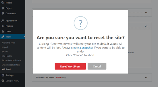 Confirm that you want to reset your website