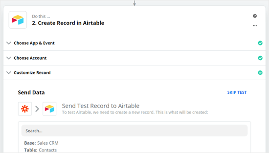 Send test data to Airtable
