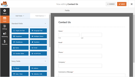 The Contact Us form with the extra fields, in the WPForms form builder